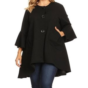 SEVEN KARAT Bell Sleeve Swing Coat Black 3X
